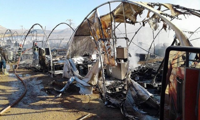 Derik'teki çadır kentte yangın