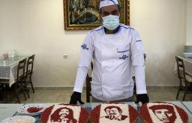 Mardinli aşçı et ve kuyruk yağından portre yapıyor